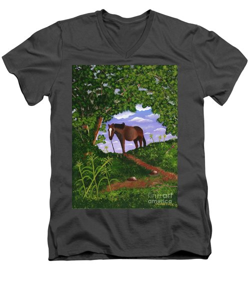Men's V-Neck T-Shirt featuring the painting All Alone by Laura Forde