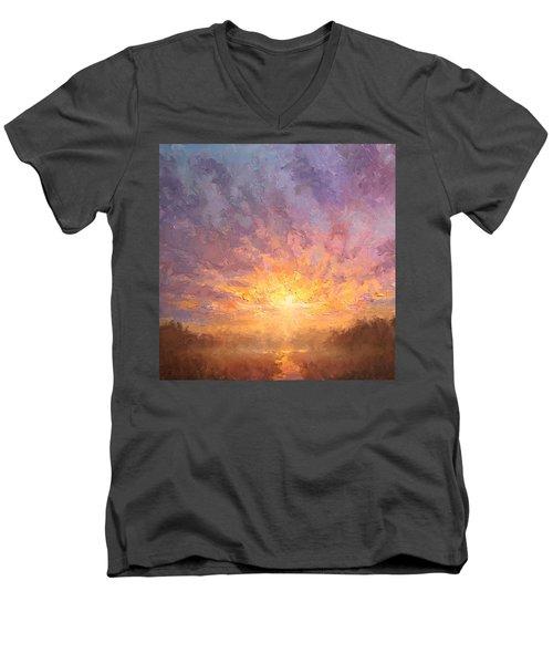 Impressionistic Sunrise Landscape Painting Men's V-Neck T-Shirt by Karen Whitworth