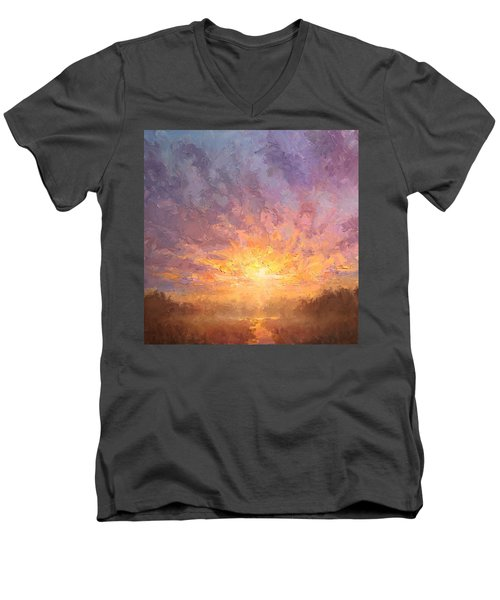 Impressionistic Sunrise Landscape Painting Men's V-Neck T-Shirt