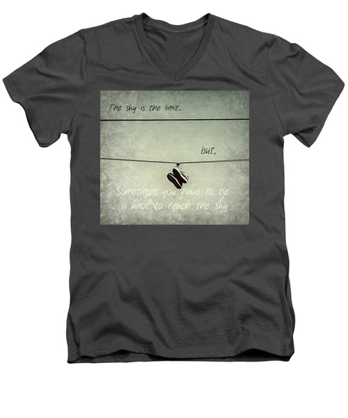 Men's V-Neck T-Shirt featuring the photograph All Tied Up Inspirational by Melanie Lankford Photography