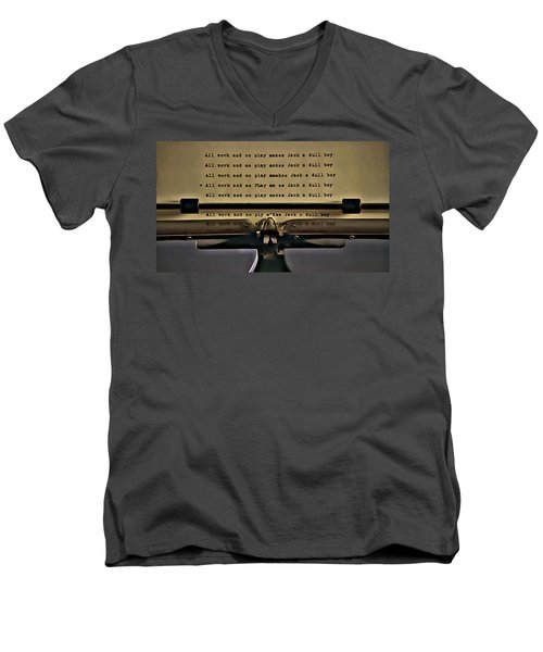 All Work And No Play Makes Jack A Dull Boy Men's V-Neck T-Shirt by Florian Rodarte