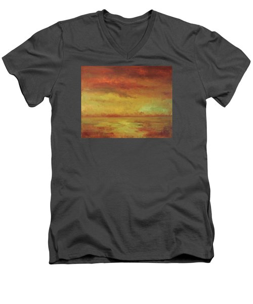 Men's V-Neck T-Shirt featuring the painting Allegro by Mary Wolf