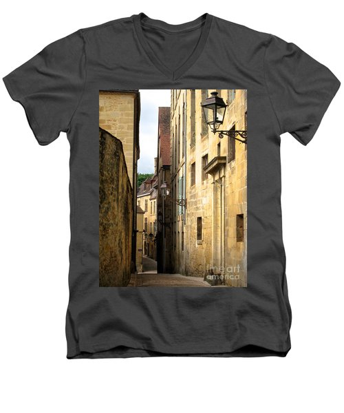 Alleys Of Sarlat Men's V-Neck T-Shirt by Suzanne Oesterling