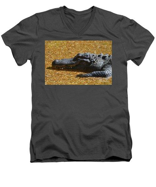 Alligator Men's V-Neck T-Shirt by DejaVu Designs