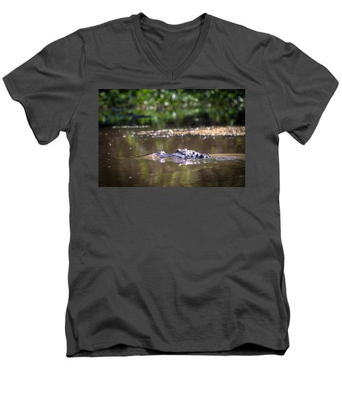 Alligator Swimming In Bayou 1 Men's V-Neck T-Shirt