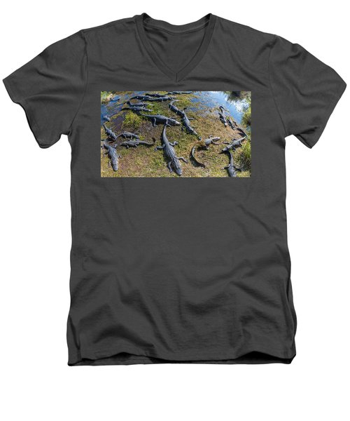 Alligators Along The Anhinga Trail Men's V-Neck T-Shirt