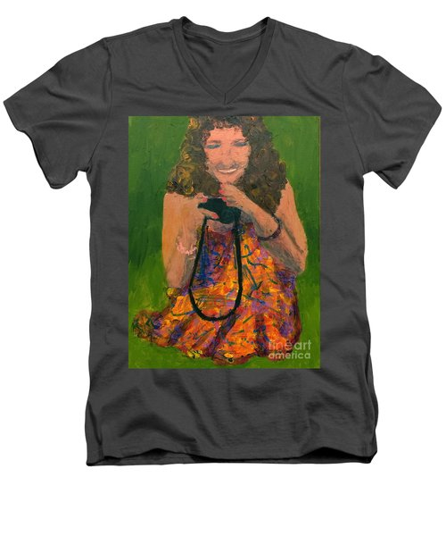 Men's V-Neck T-Shirt featuring the painting Allison by Donald J Ryker III