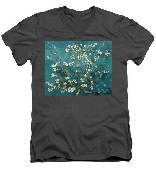 Men's V-Neck T-Shirt featuring the painting Almond Blossoms' Reproduction by Tim Gilliland