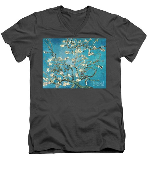 Almond Branches In Bloom Men's V-Neck T-Shirt
