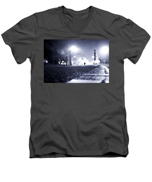 Alone Brooklyn Nyc Usa Men's V-Neck T-Shirt by Sabine Jacobs
