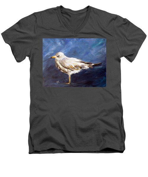 Men's V-Neck T-Shirt featuring the painting Alone by Dorothy Maier