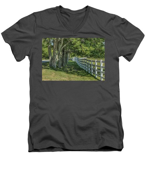 Men's V-Neck T-Shirt featuring the photograph Along A Country Road by Jane Luxton