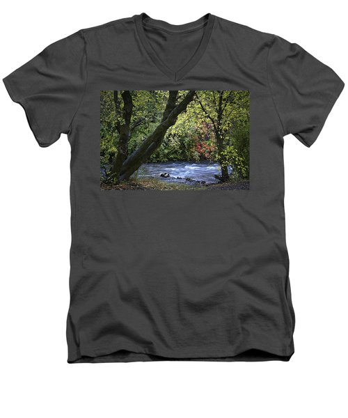 Men's V-Neck T-Shirt featuring the photograph Along Swift Waters by Priscilla Burgers