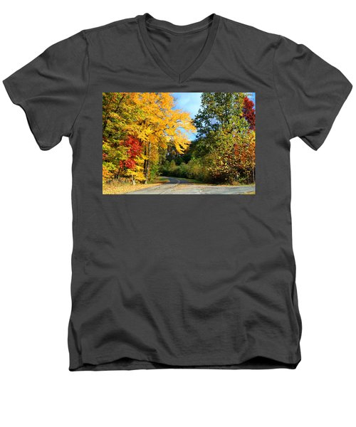Men's V-Neck T-Shirt featuring the photograph Along The Road 2 by Kathryn Meyer