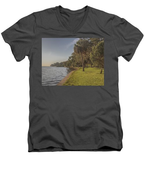 Men's V-Neck T-Shirt featuring the photograph Along The Wall by Jane Luxton