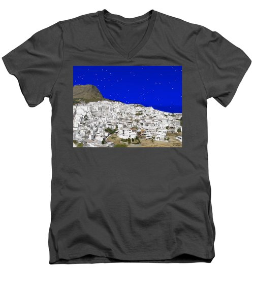 Alora Malaga Spain At Twilight Men's V-Neck T-Shirt by Bruce Nutting