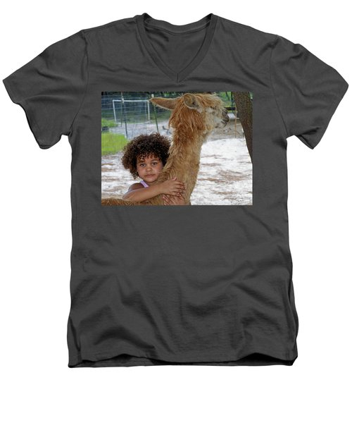 Alpaca Love Men's V-Neck T-Shirt by Judy Wanamaker