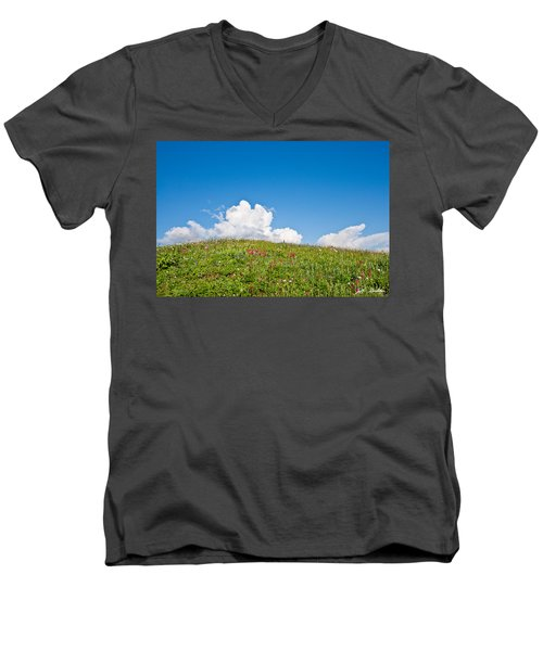 Alpine Meadow And Cloud Formation Men's V-Neck T-Shirt