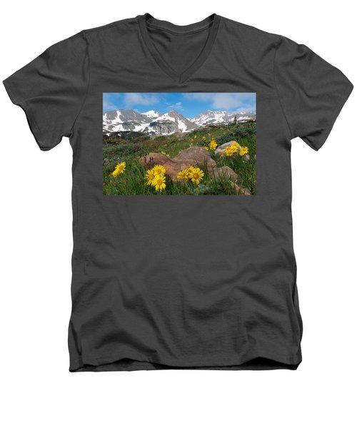 Alpine Sunflower Mountain Landscape Men's V-Neck T-Shirt