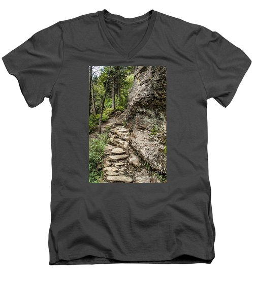 Men's V-Neck T-Shirt featuring the photograph Alum Cave Trail by Debbie Green