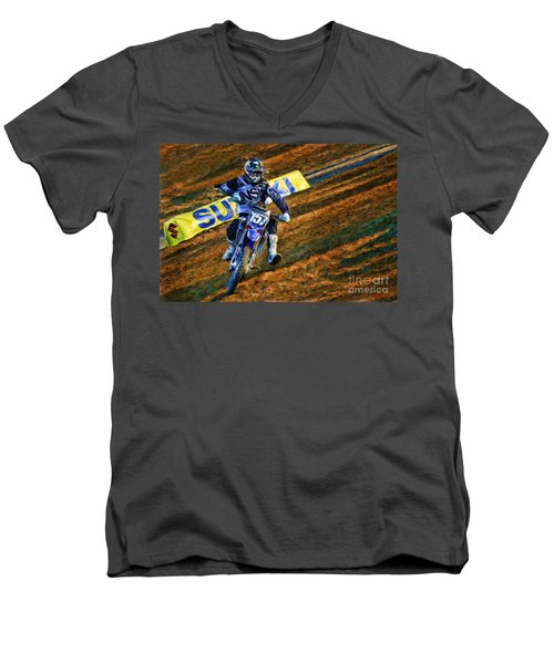 Ama 250sx Supercross Aaron Plessinger Men's V-Neck T-Shirt