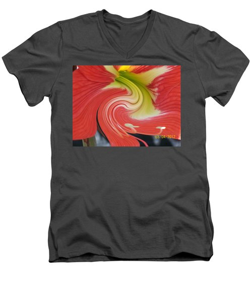 Men's V-Neck T-Shirt featuring the photograph Amarylis Twirl by Belinda Lee