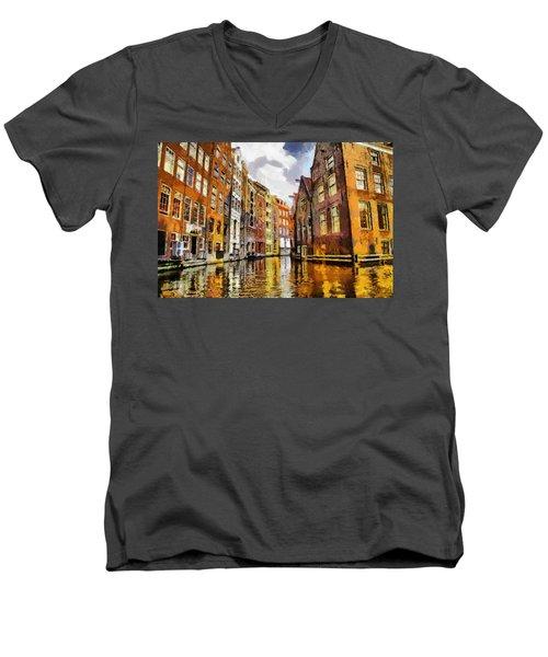 Amasterdam Houses In The Water Men's V-Neck T-Shirt by Georgi Dimitrov