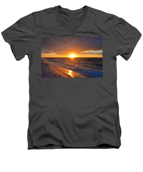 Men's V-Neck T-Shirt featuring the photograph Amazing Sunrise Colors And Waves On Navarre Beach by Jeff at JSJ Photography