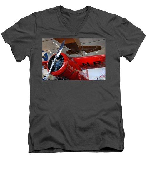 Amelia Earhart Prop Plane Men's V-Neck T-Shirt