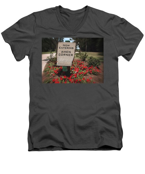 Men's V-Neck T-Shirt featuring the photograph Amen Corner - A Golfers Dream by Ella Kaye Dickey