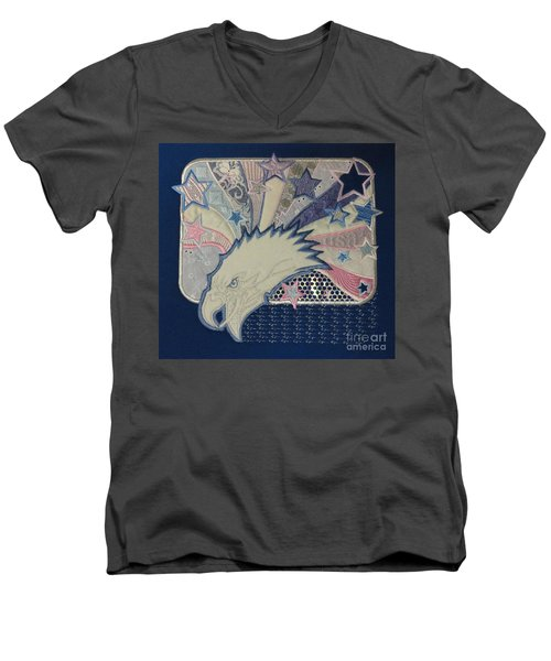 American Bald Eagle Embroidery Men's V-Neck T-Shirt by Maestro
