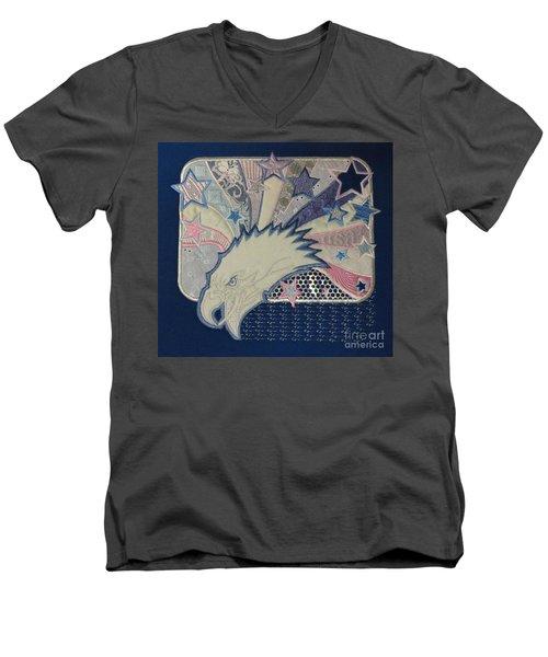 American Bald Eagle Embroidery Men's V-Neck T-Shirt