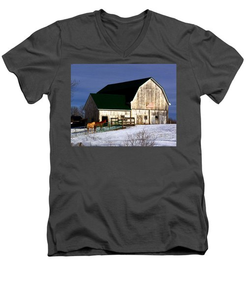 American Barn Men's V-Neck T-Shirt by Desiree Paquette