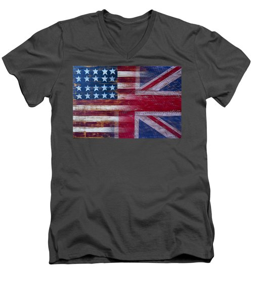 American British Flag 2 Men's V-Neck T-Shirt