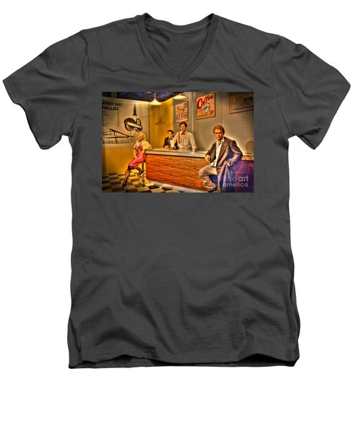 American Cinema Icons - 5 And Diner Men's V-Neck T-Shirt