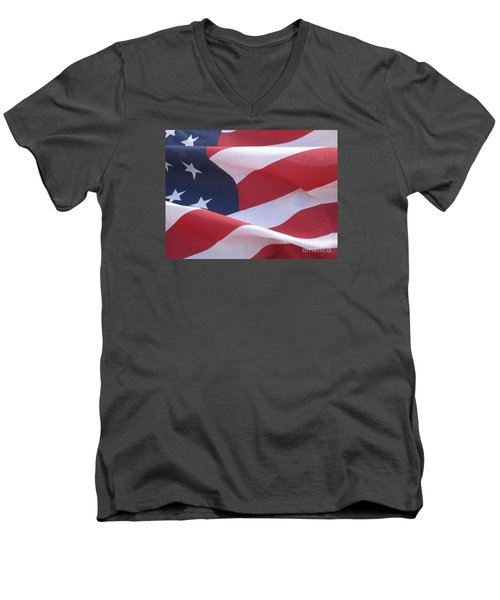 Men's V-Neck T-Shirt featuring the photograph American Flag   by Chrisann Ellis