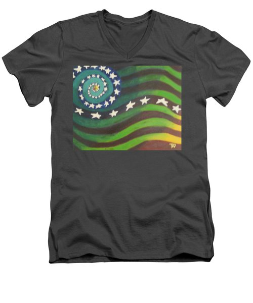 Men's V-Neck T-Shirt featuring the painting American Flag Reprise by Thomasina Durkay