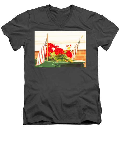 Men's V-Neck T-Shirt featuring the photograph American Flags And Geraniums In A Wheelbarrow One by Marian Cates