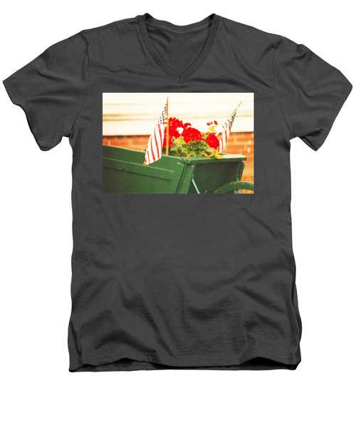 Men's V-Neck T-Shirt featuring the photograph American Flags And Geraniums In A Wheelbarrow Two by Marian Cates