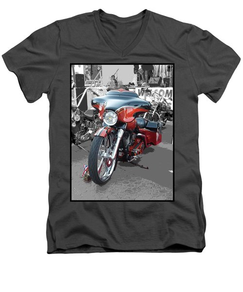 Men's V-Neck T-Shirt featuring the photograph American Heat - Palm Springs by Glenn McCarthy Art and Photography