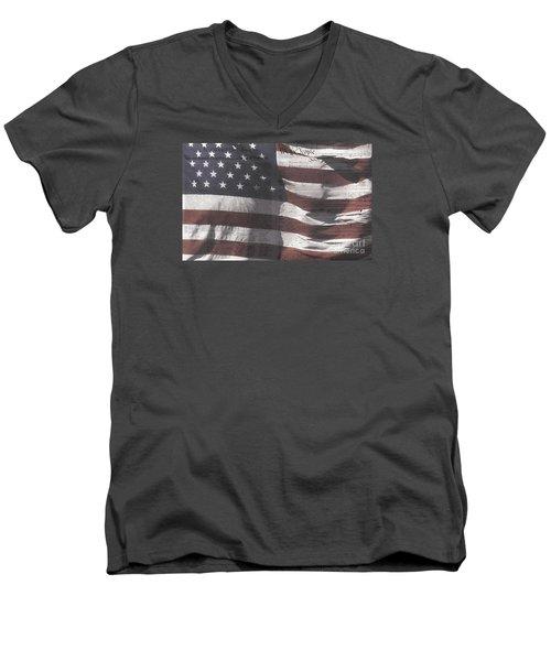 Historical Documents On Us Flag Men's V-Neck T-Shirt
