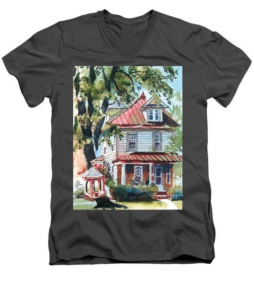 American Home With Children's Gazebo Men's V-Neck T-Shirt by Kip DeVore