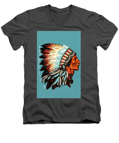 American Indian Chief Profile Men's V-Neck T-Shirt