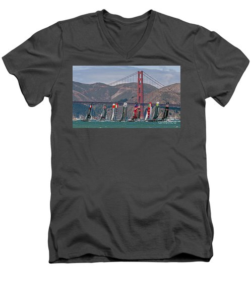 Americas Cup Catamarans At The Golden Gate Men's V-Neck T-Shirt