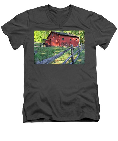 Amish Barn Along A Fenceline Men's V-Neck T-Shirt by Gordon Elwell