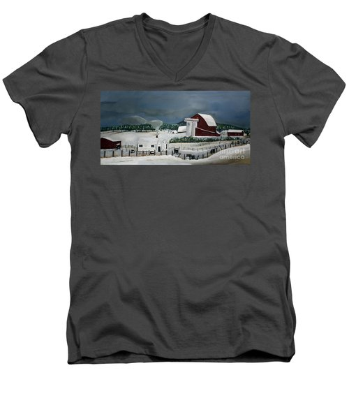 Amish Farm - Winter - Michigan Men's V-Neck T-Shirt