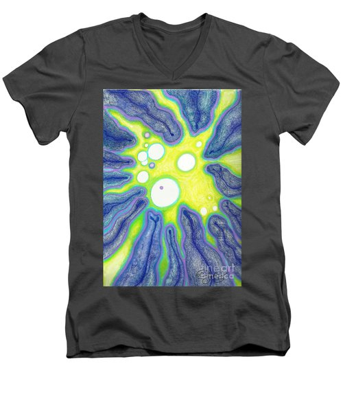 Men's V-Neck T-Shirt featuring the painting Amoeba Adolescence  by Carol Jacobs