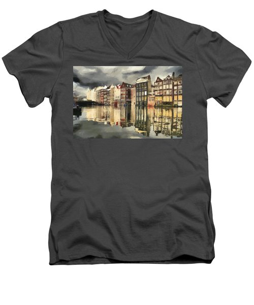 Amsterdam Cloudy Grey Day Men's V-Neck T-Shirt by Georgi Dimitrov