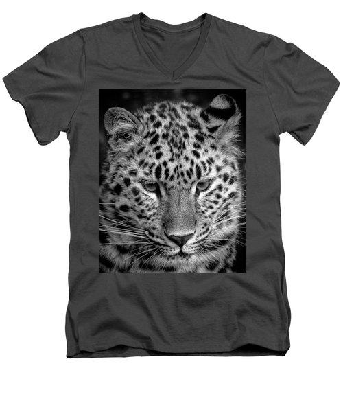 Amur Leopard In Black And White Men's V-Neck T-Shirt
