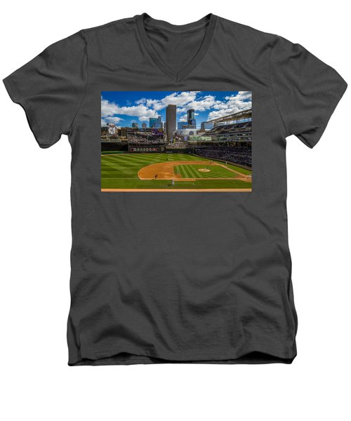 An Afternoon At Target Field Men's V-Neck T-Shirt by Tom Gort